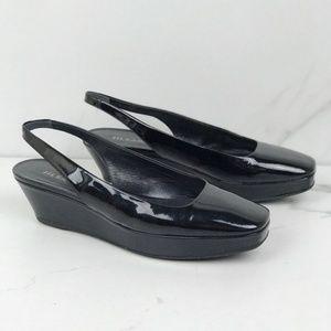 Jil Sander Patent Leather Black Wedges Slingbacks